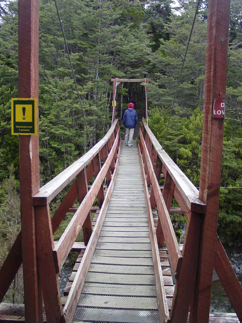 Julie crossing a bridge to get onto Waitonga Falls Track as we were trying to leave a lahar zone