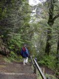 Waitonga_Falls_027_11162004 - Julie descending with Waitonga Falls in the background