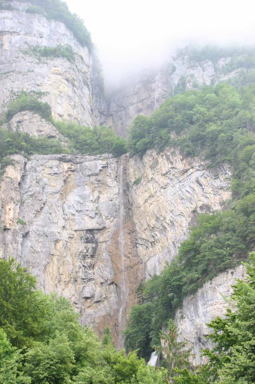 Looking up towards the third tier of Seerenbach Falls with only a small bit of the 2nd tier visible as it was mostly obscured by clouds