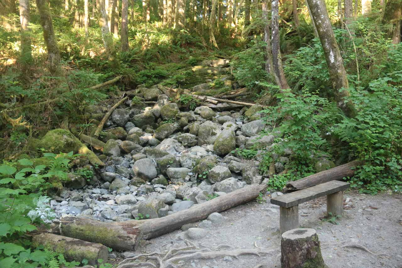 This dry creek was where I believe the Small Falls was supposed to be.  I didn't notice this on my first visit when it would've been flowing, but it was well-signed on my second visit which took place in mid-Summer when there was less water
