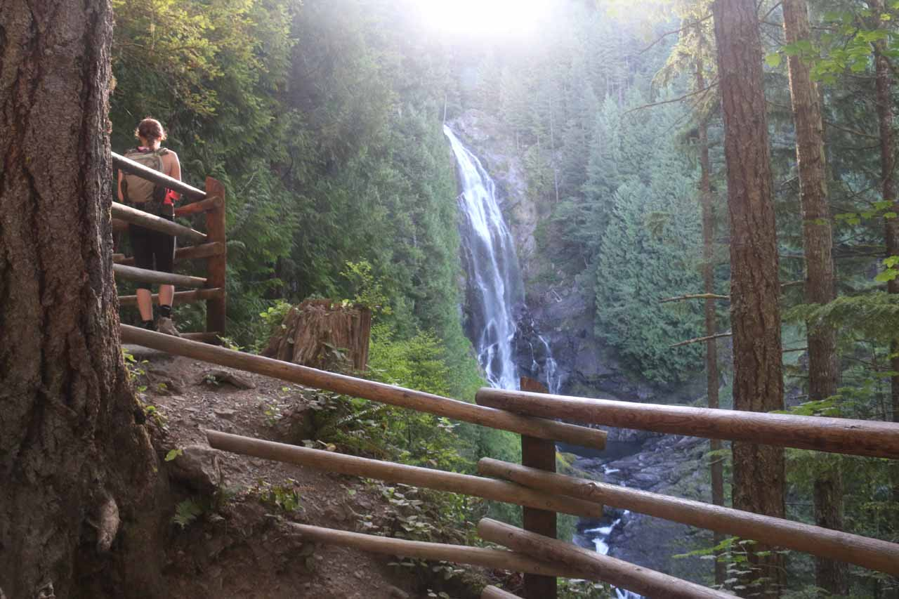 After climbing beyond the Lower Wallace Falls, I reached this lookout for the Middle Wallace Falls shortly before the sun breached the cliffs