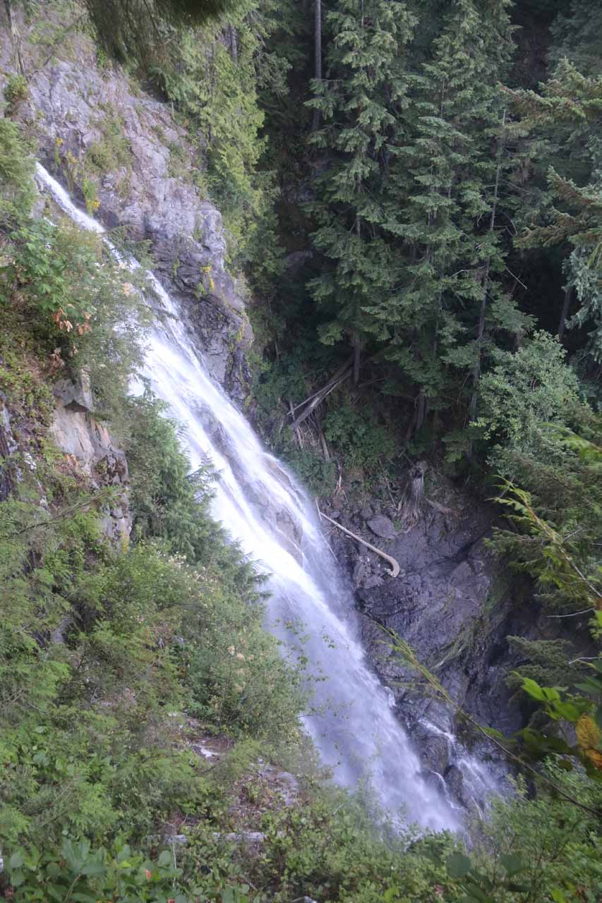 Looking down over the top of the Middle Wallace Falls after taking a short spur