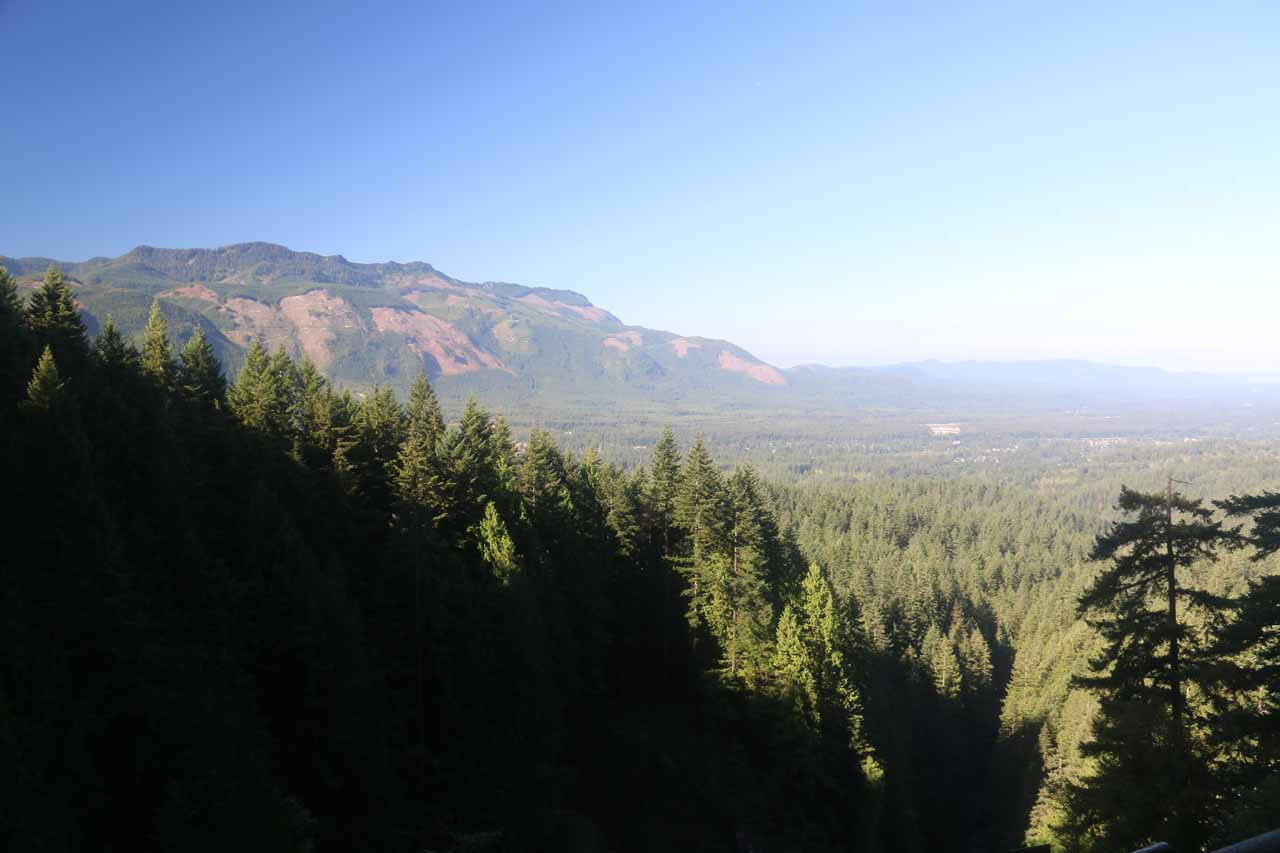This was the Valley Overlook view over the Skykomish River Valley from the top of the Middle Wallace Falls in good weather