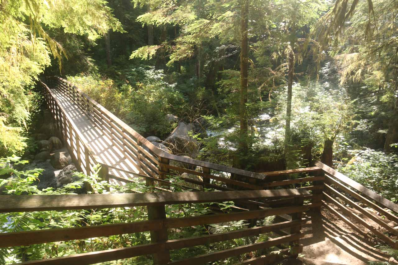 Back at the footbridge over the North Fork of the Wallace River