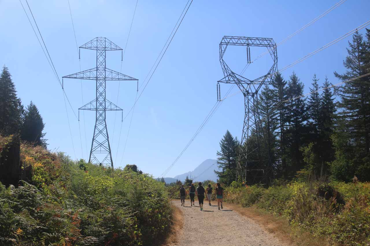 Hiking beneath some power pylons and transmission lines in the first half-mile