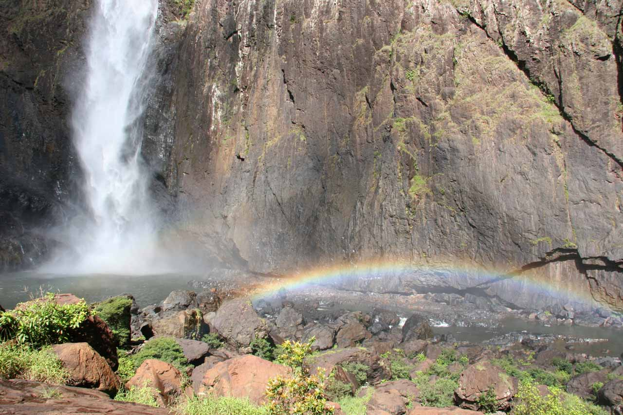 The full arc of the late morning rainbow was a little off to the side of the base of Wallaman Falls