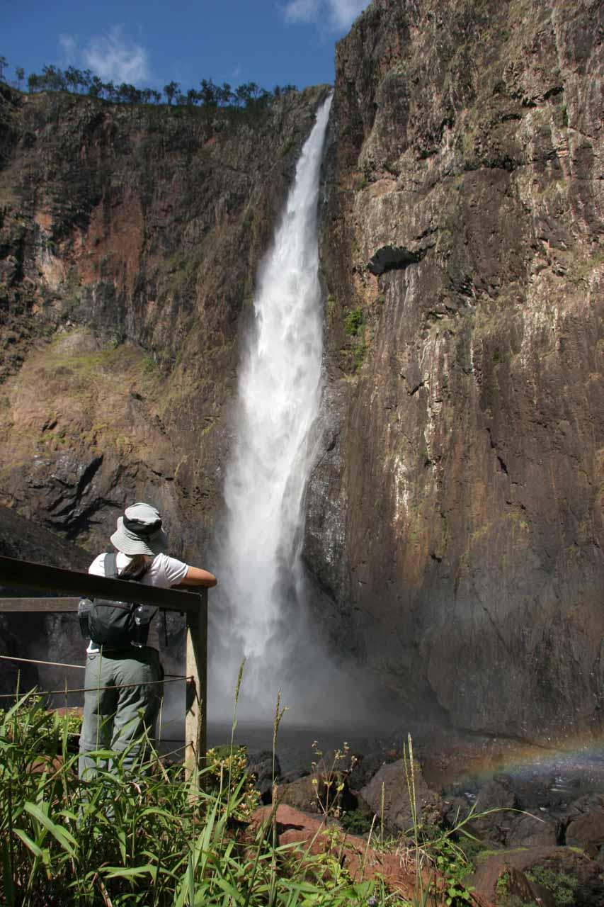 Wallaman Falls with Julie at the lookout at its base