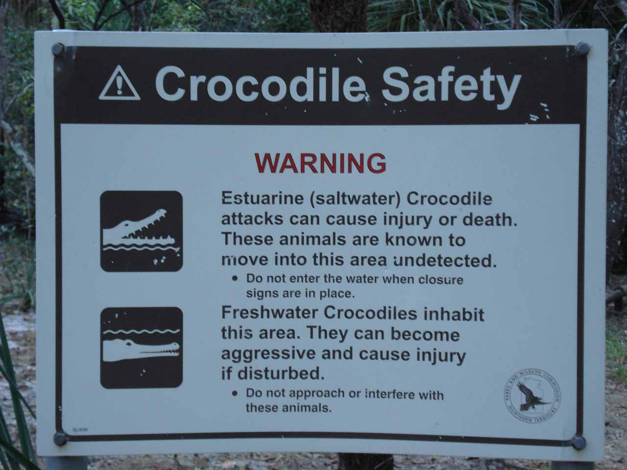 A crocodile sign keeping us aware that we were in their habitat