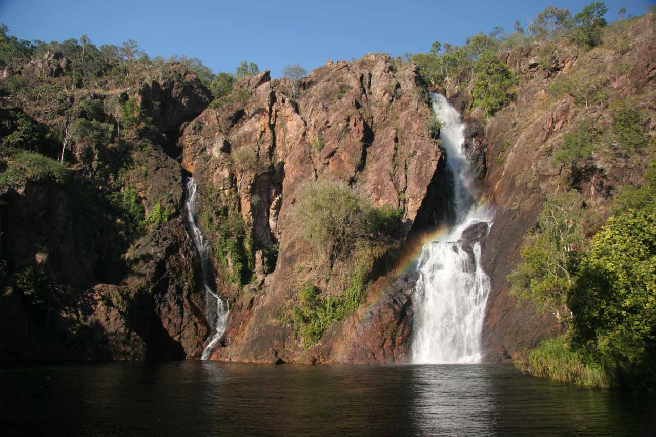 Last late afternoon look at Wangi Falls with a rainbow going across the larger drop