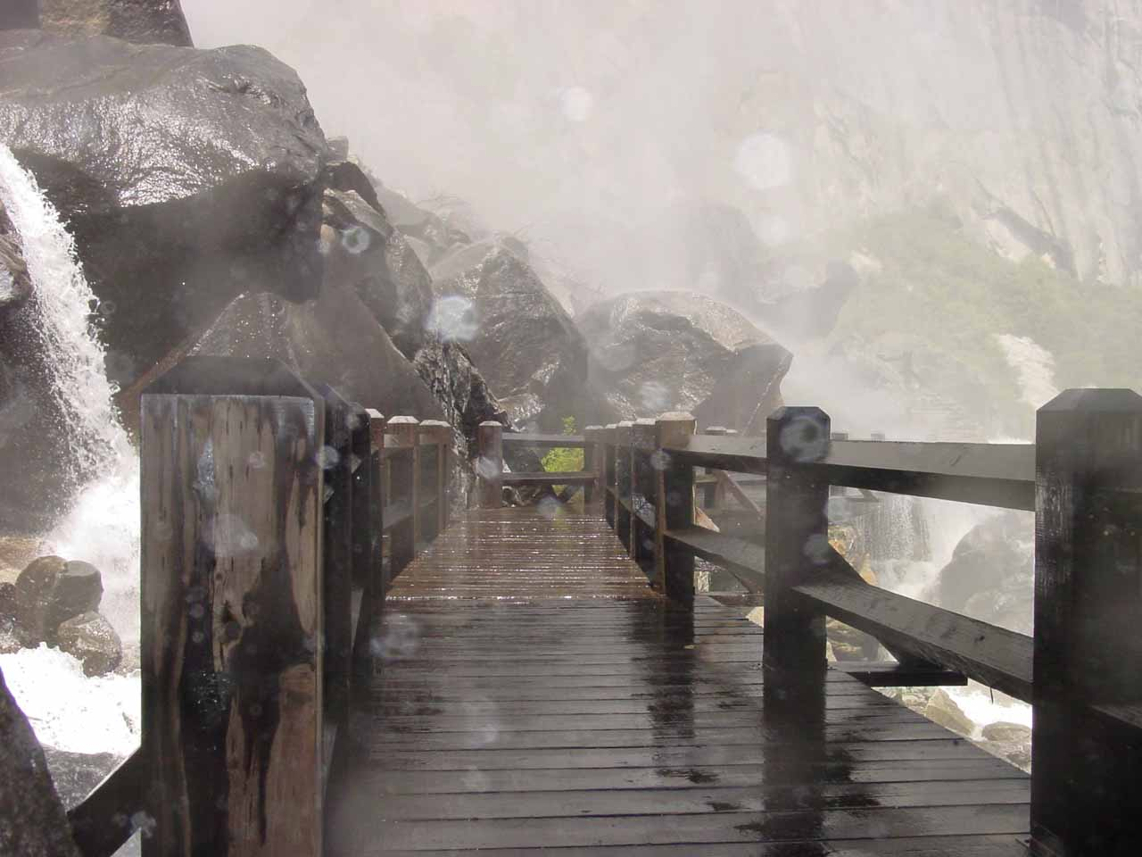 When Tueeuala Falls has high flow, this is probably what you will face at the Wapama Falls footbridges