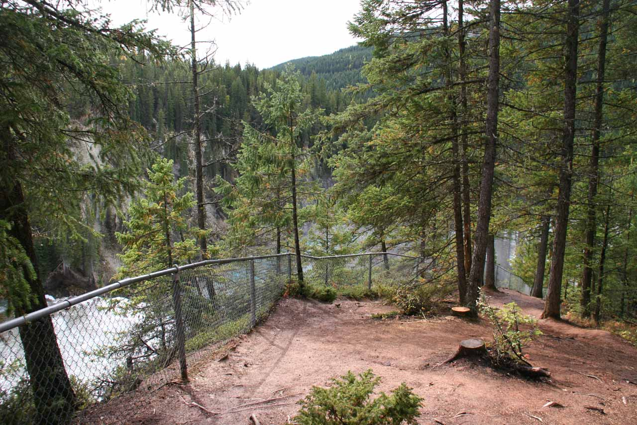 Fences erected to keep us away from the river above Wapta Falls