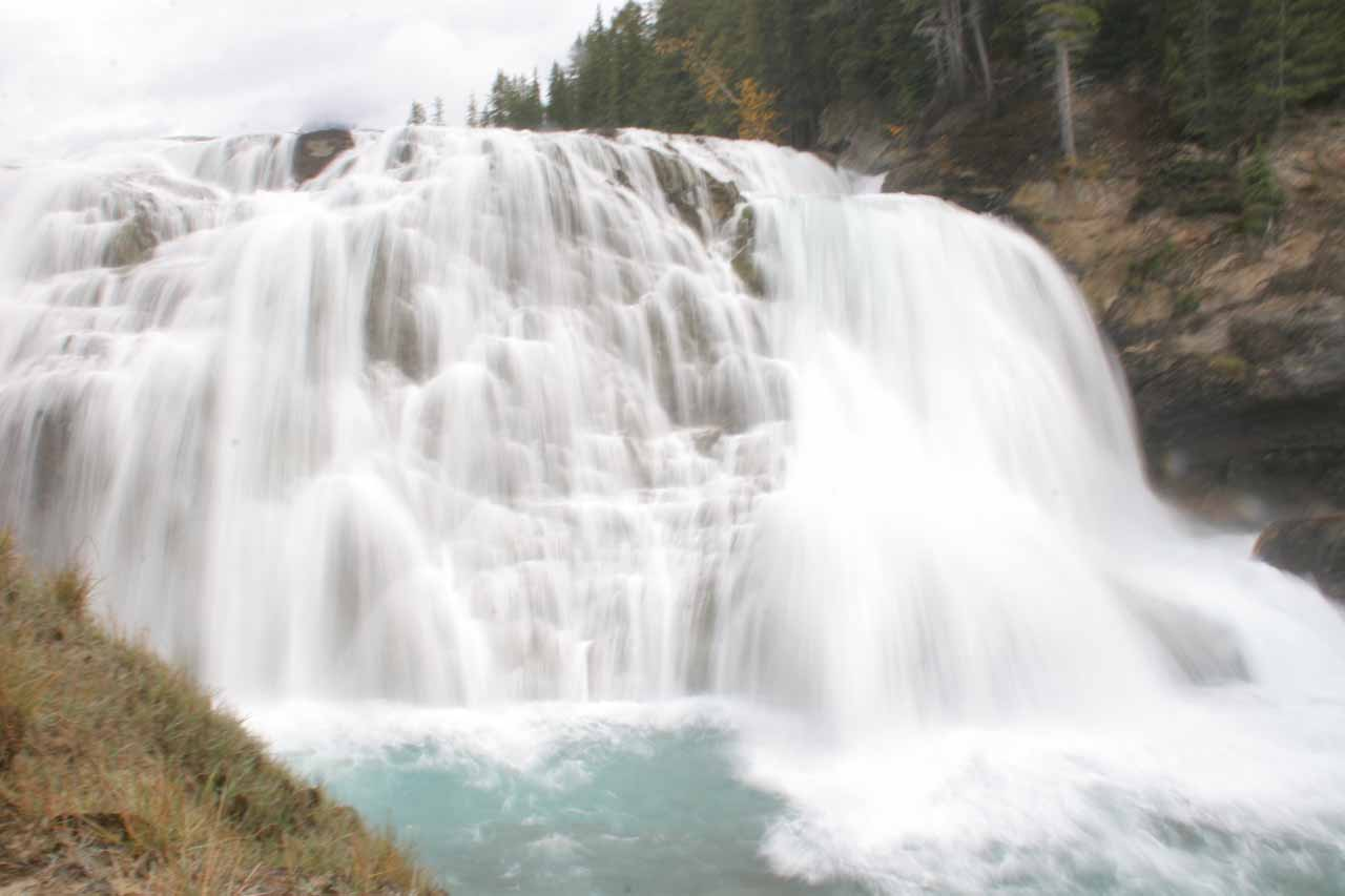 Partial long exposure shot of Wapta Falls from the top of the hill