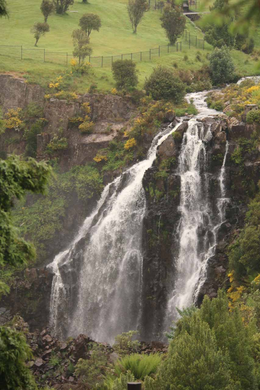 Zoomed in look at the impressive Waratah Falls