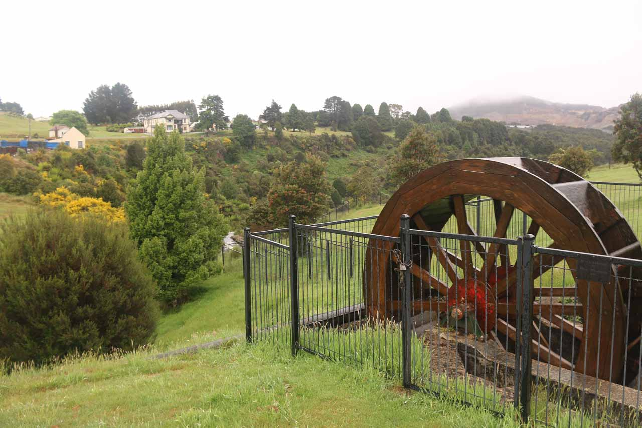 This was the Dudley Kenworthy Wheel, which was the main mechanism for converting water power to electricity (illuminating the town of Mt Bischoff (Waratah) before more advanced means came along