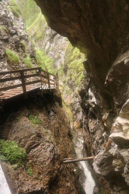 Wasserlochklamm_236_07062018 - Looking down into the Canyon section while hiking between the waterfall 1 and waterfall 2 in the Wasserlochklamm
