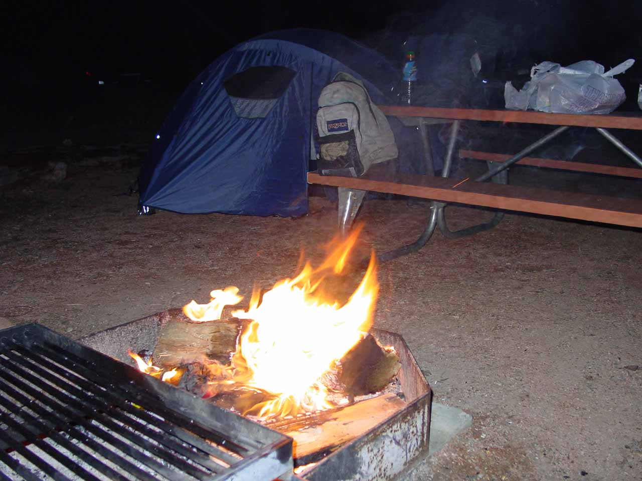 Campfire at the Watchman Campground