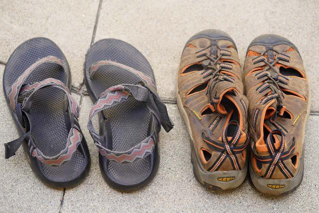 The Chacos (left) and KEENs (right) are my primary shoes to get through hikes with deep water crossings