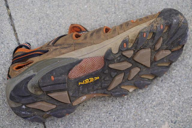 Closer look at the soles of the Keen Arroyo II, which has respectable traction though it's still inferior to hiking boots or canyoneering shoes