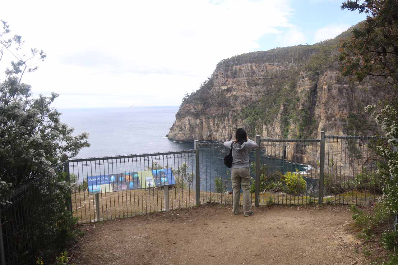 Julie checking out the Waterfall Bay from the lookout closest to the end of the road