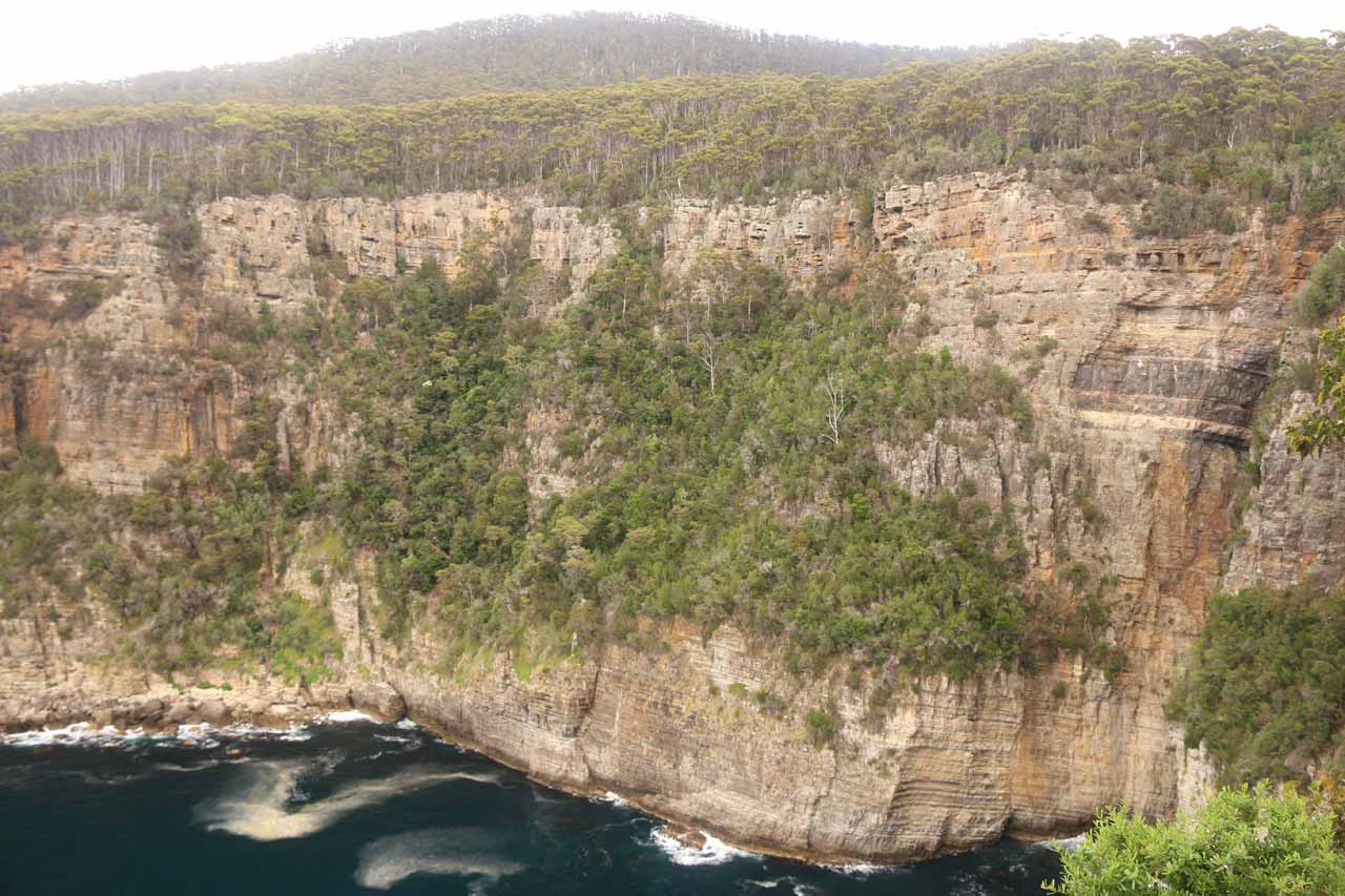 Looking directly across towards the sea cliffs towering over Waterfall Bay