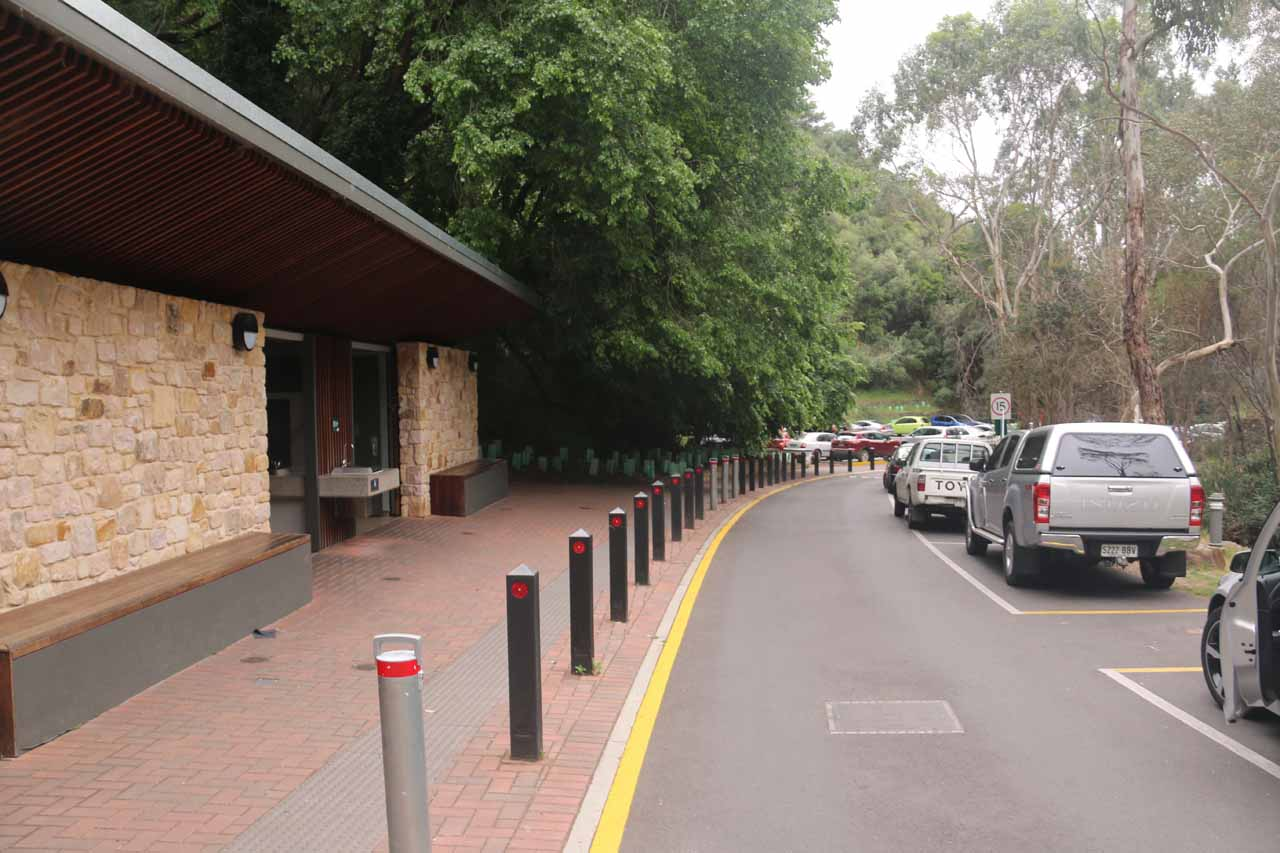 Near the restrooms for the car park at the Waterfall Gully