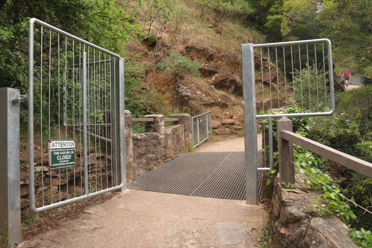 This was the gate that tended to close during fire danger or perhaps during flooding conditions as well