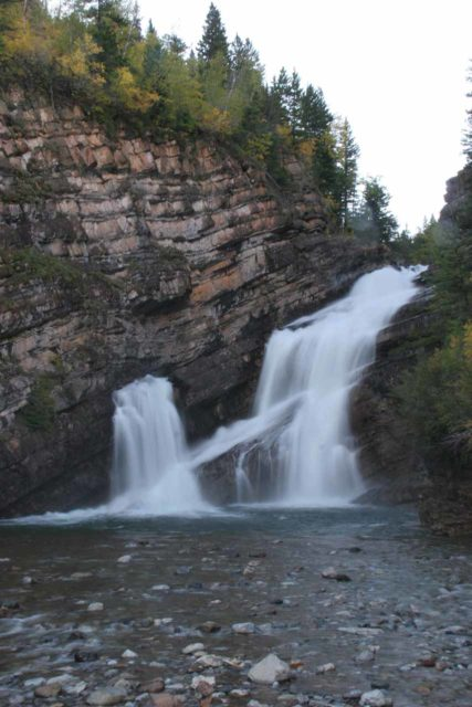 Waterton_024_09222010 - Cameron Falls in long exposure and in portrait orientation under the long shadows of the late afternoon or early evening