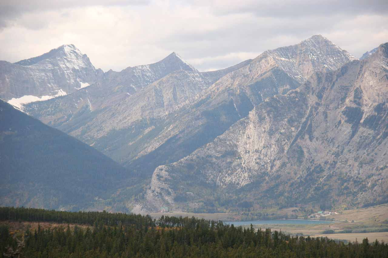 View looking into the valley containing Waterton providing some visual context of the amazing Rockies scenery