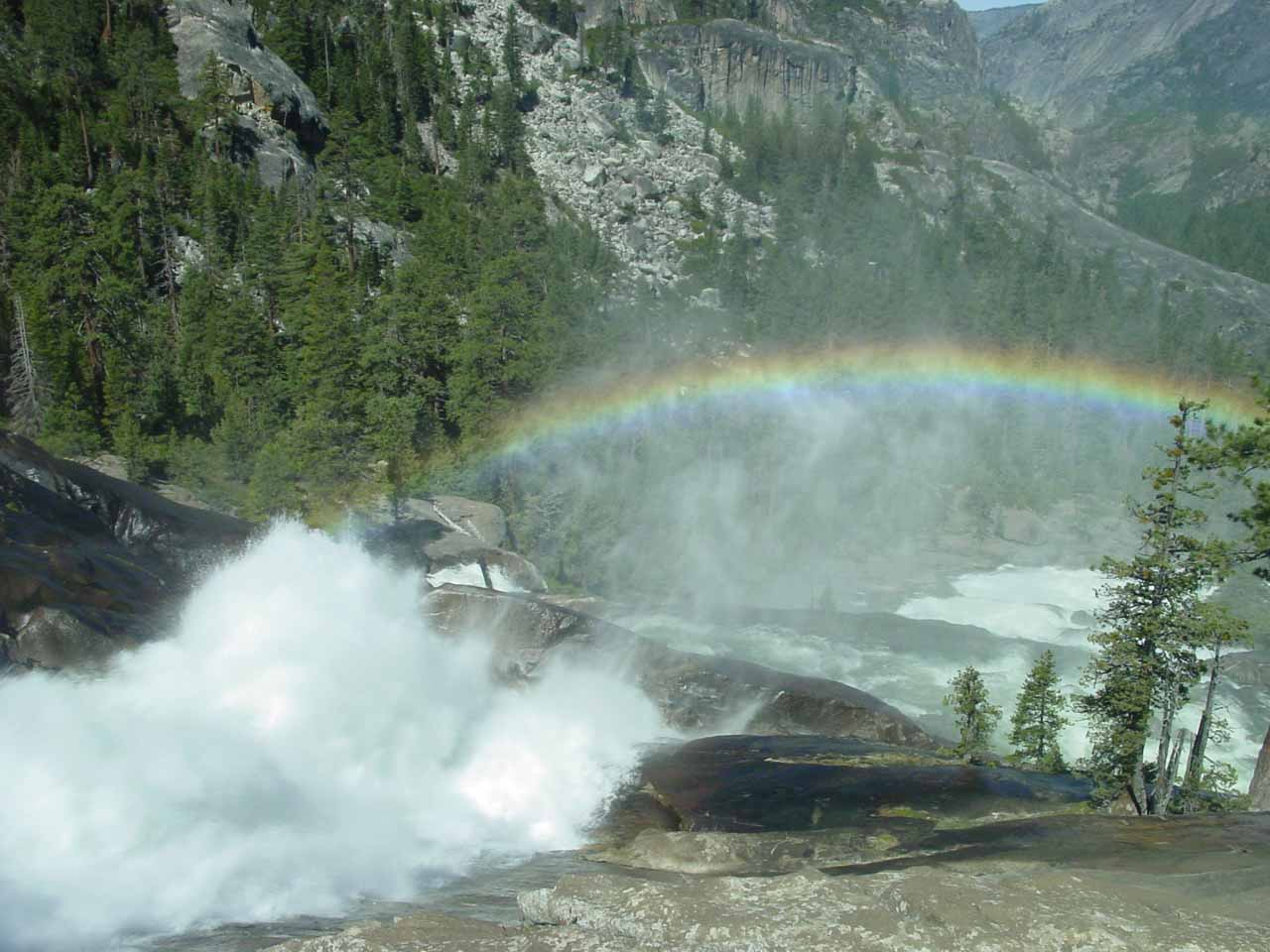 Waterwheel Falls with rainbow deep in the Grand Canyon of the Tuolumne River in Yosemite's High Country