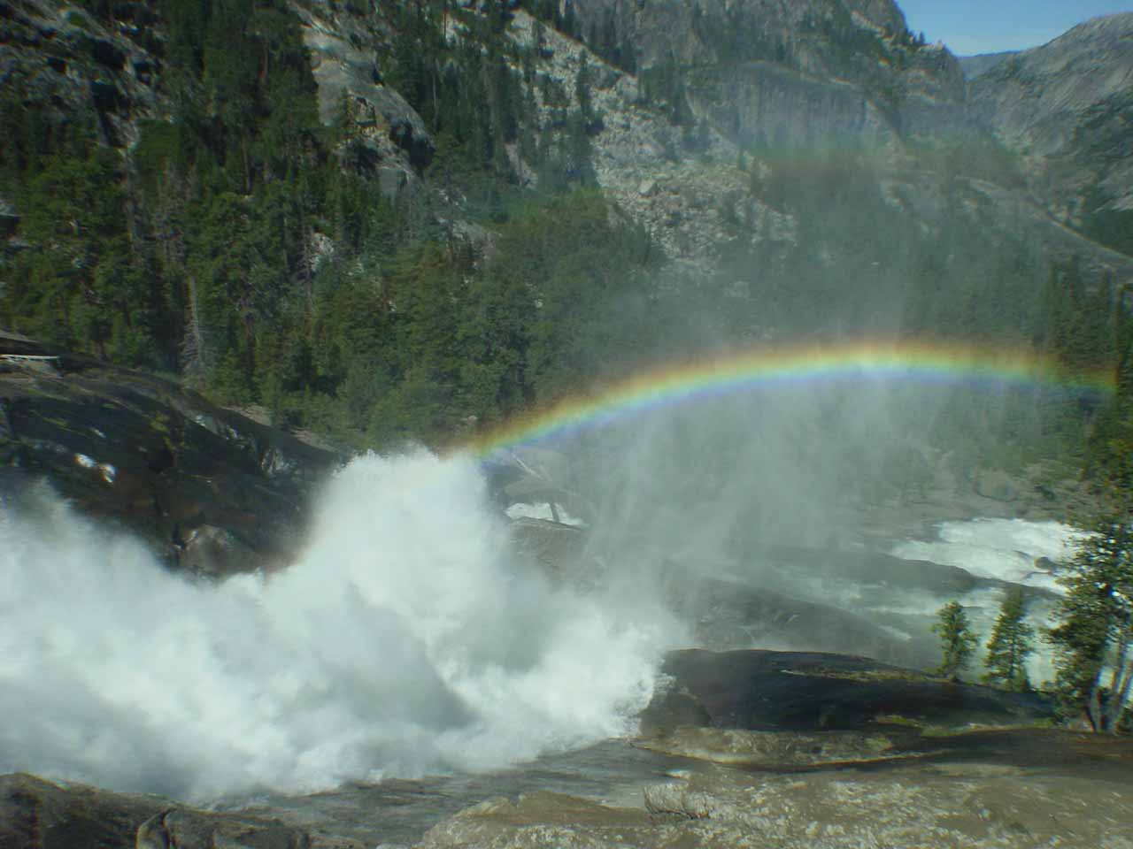 Just in time to see the double rainbow caused by Waterwheel Falls