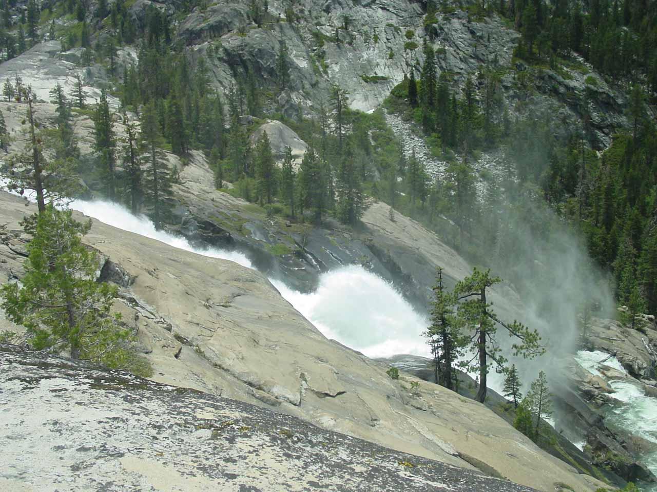 Looking down at the big waterwheel of Waterwheel Falls