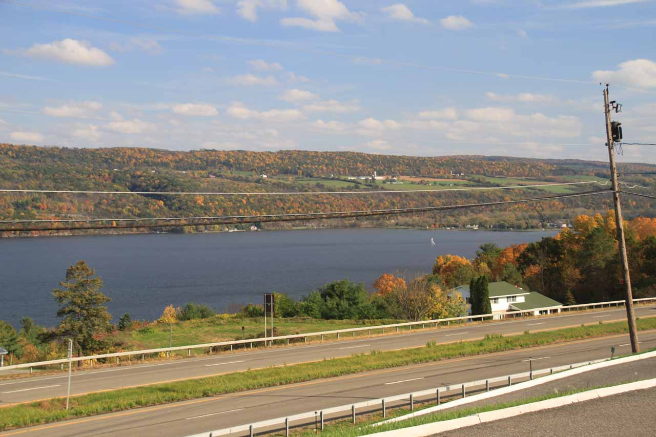 The gorgeous view of Seneca Lake from the Gorgeous View Motel