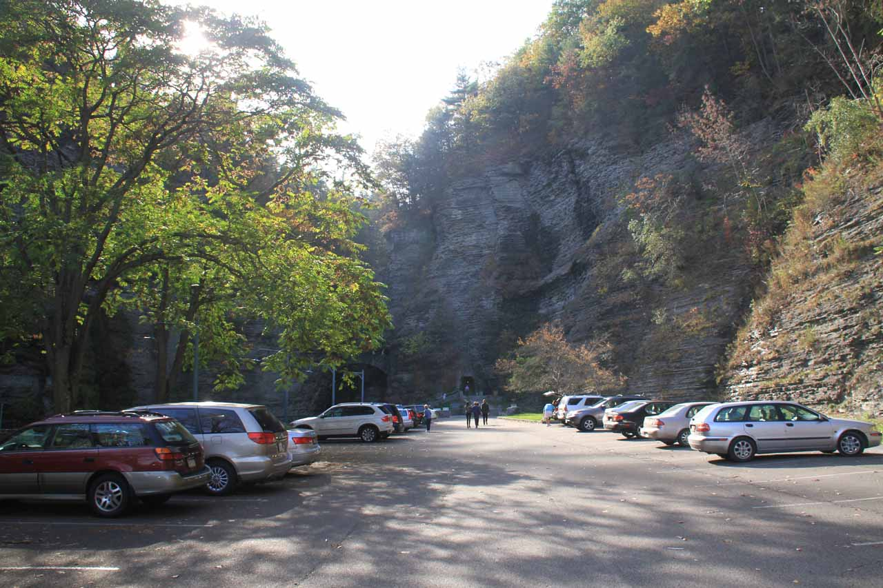 The car park for the Main Entrance at Watkins Glen State Park