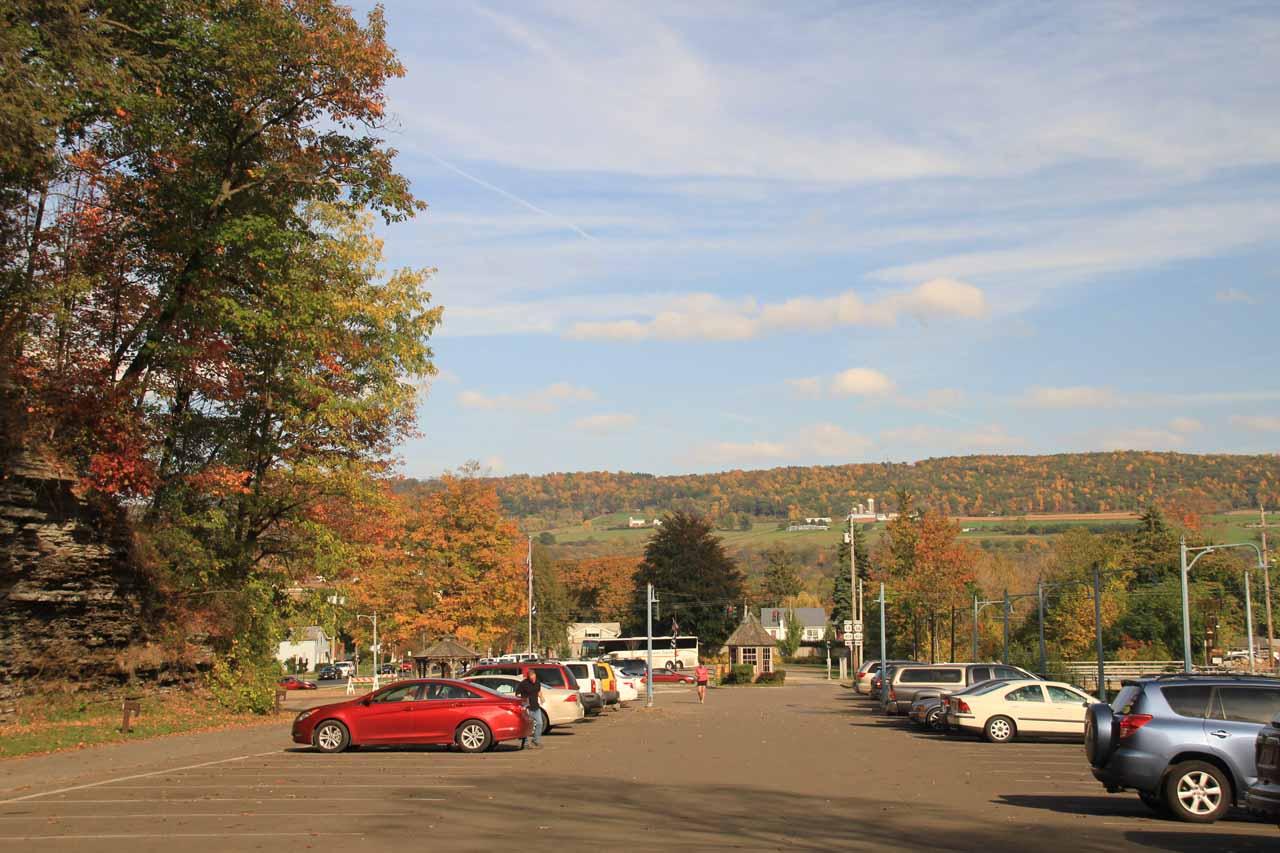 The car park for Watkins Glen State Park