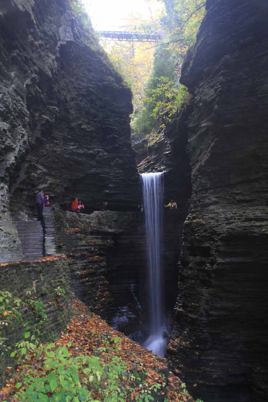 Looking right at the Cavern Cascade with the suspension bridge high above it