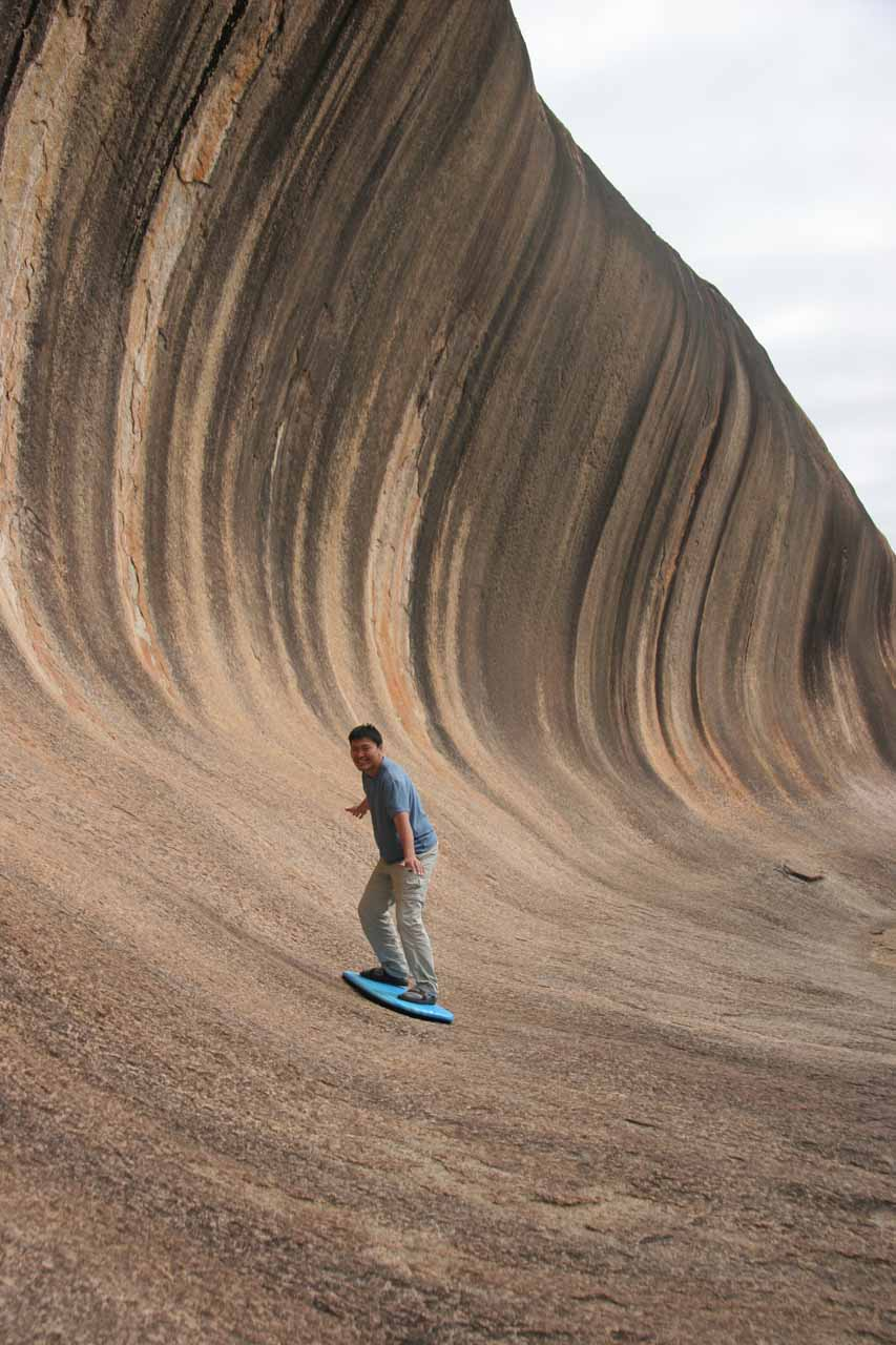Surfing the ironing board at Wave Rock