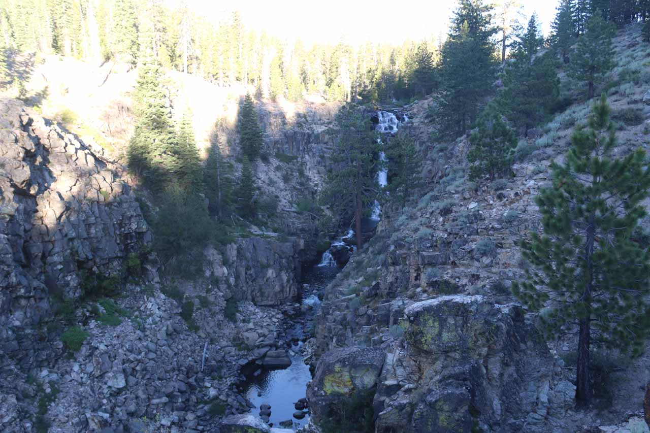 Contextual view looking upstream towards Webber Falls from that rock outcrop jutting out into the gorge