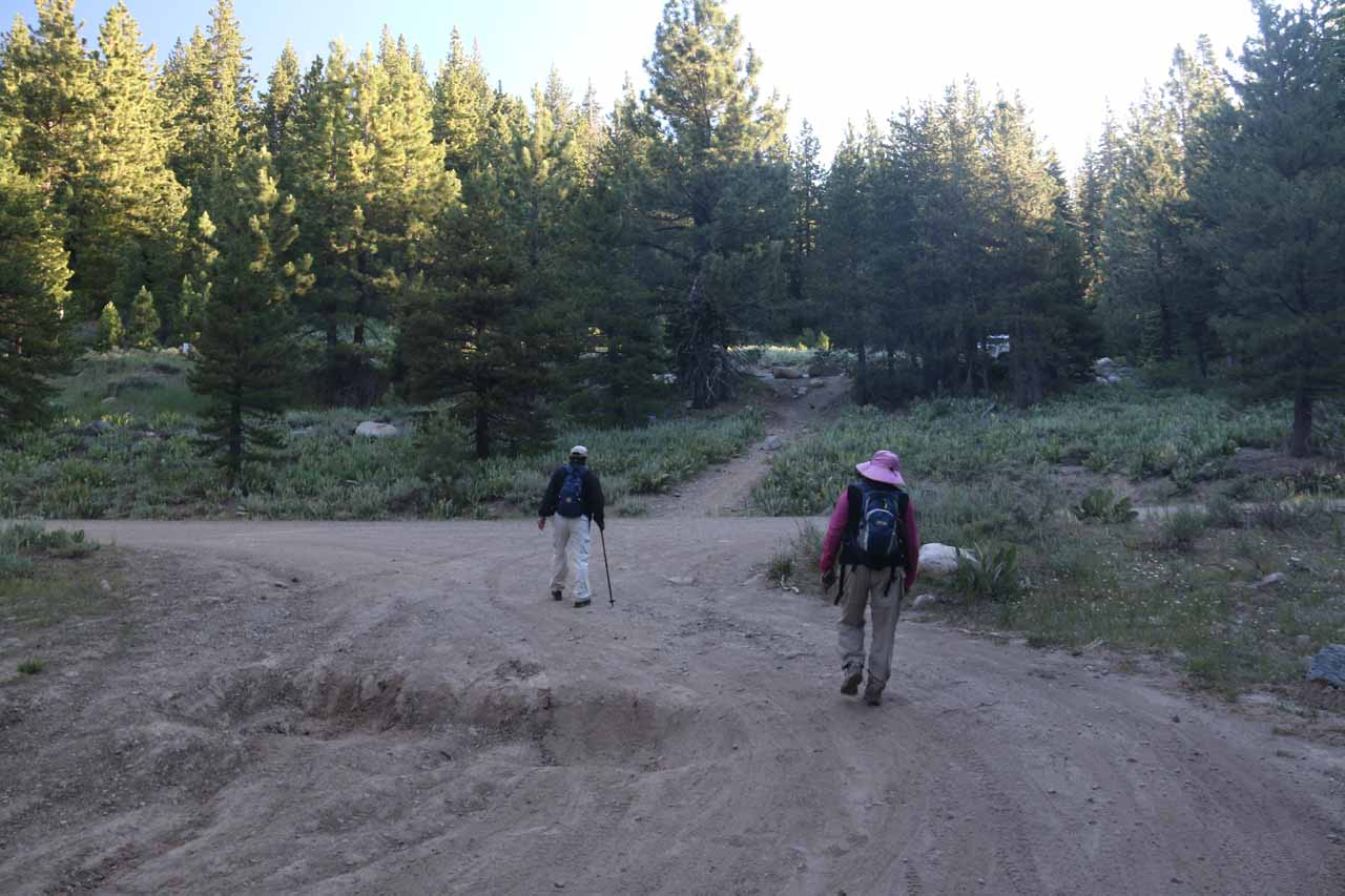My parents walking around this huge crater on the access road to the parking area for Webber Falls as we were making our way back up to the pullout adjacent to Jackson Meadows Road