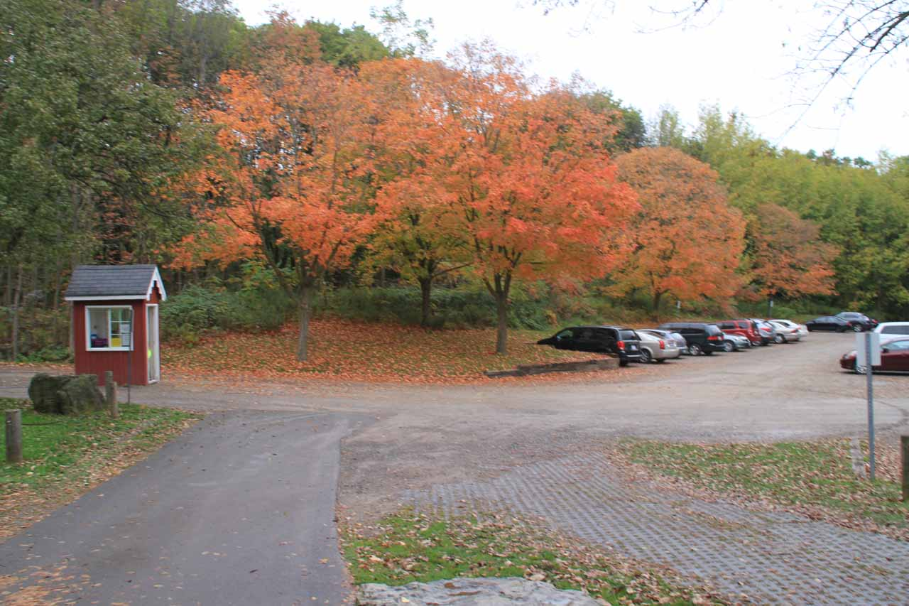 Looking back at the car park and payment kiosk with pretty Autumn colors