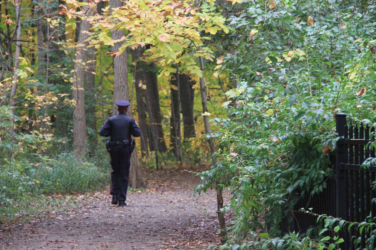This was the Hamilton cop who was patrolling the trails looking for people hopping the barricades and going into now-forbidden areas