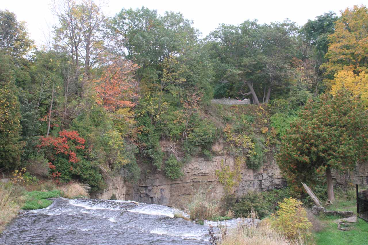 Looking over the top of Webster's Falls from the cobblestone Spencer Creek Bridge