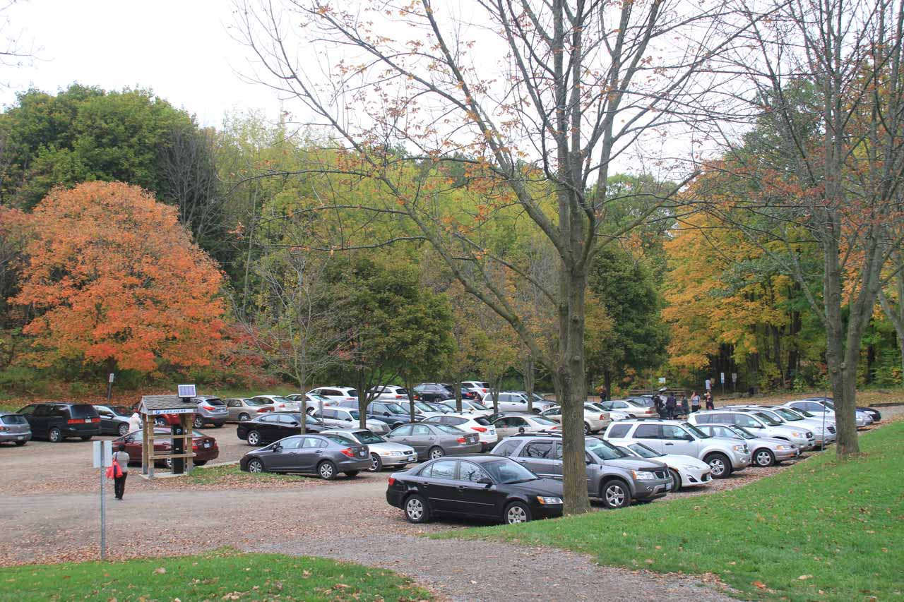It was busy when we arrived at the car park for Webster's Falls, but it was even busier when we returned to the car park during our Canadian Thanksgiving weekend visit in October 2013