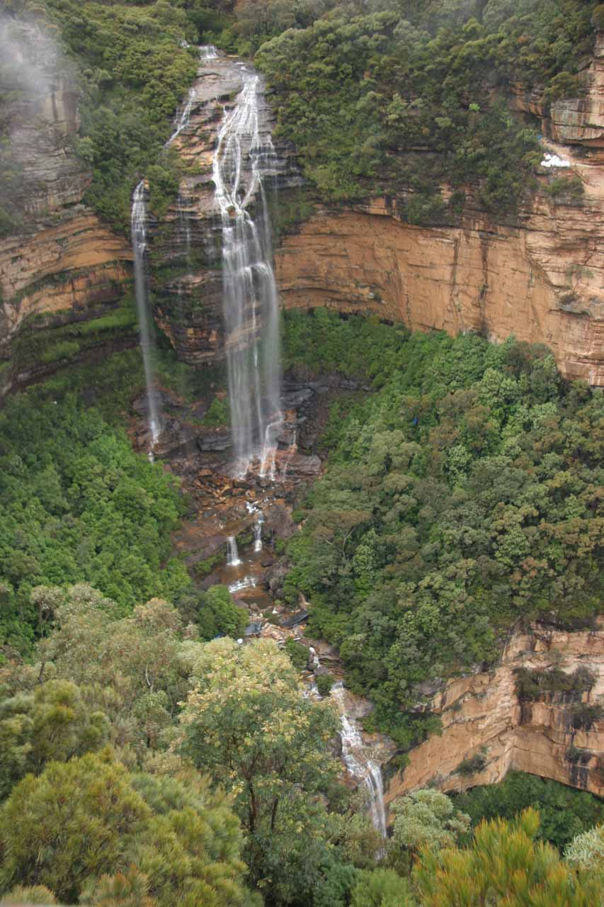Closer look at the upper tier of Wentworth Falls from Princes Rock.  Note the lower tier which falls mostly out of sight on the bottom, which gives you an idea of how tall the falls is
