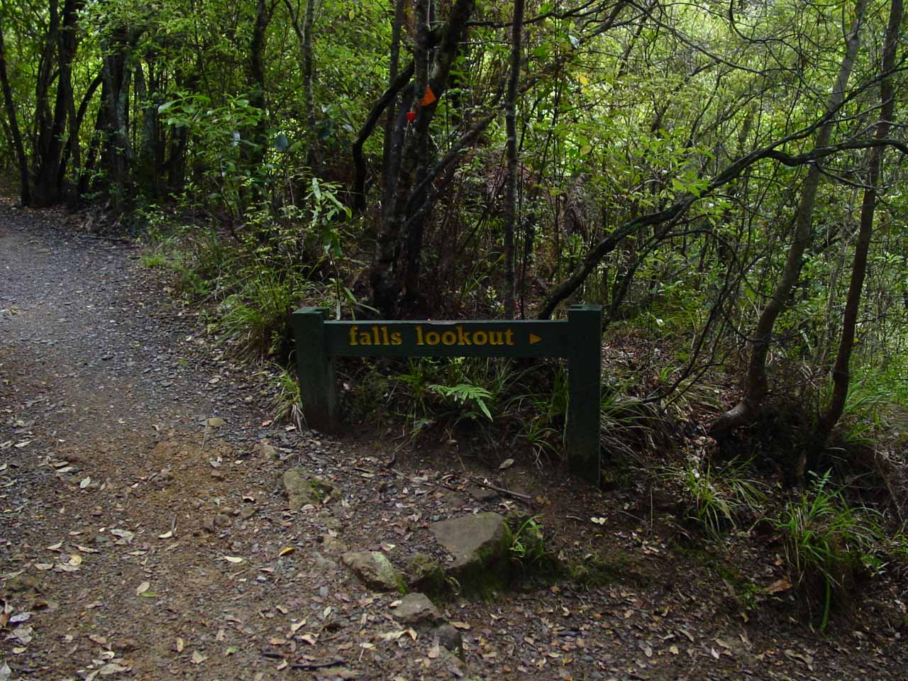 A sign pointing the way to the established overlook of Wentworth Falls
