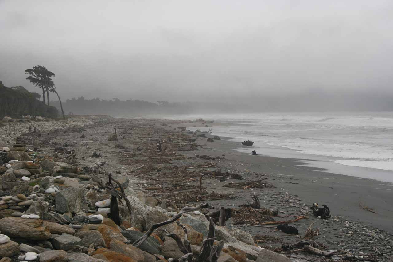 As we were driving north from the Haast Junction towards Fox Glacier, SH6 passed by the rocky and windswept beaches on this rainy side of the coast