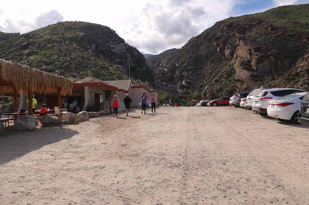Looking towards the far end of the car park by the Trading Post