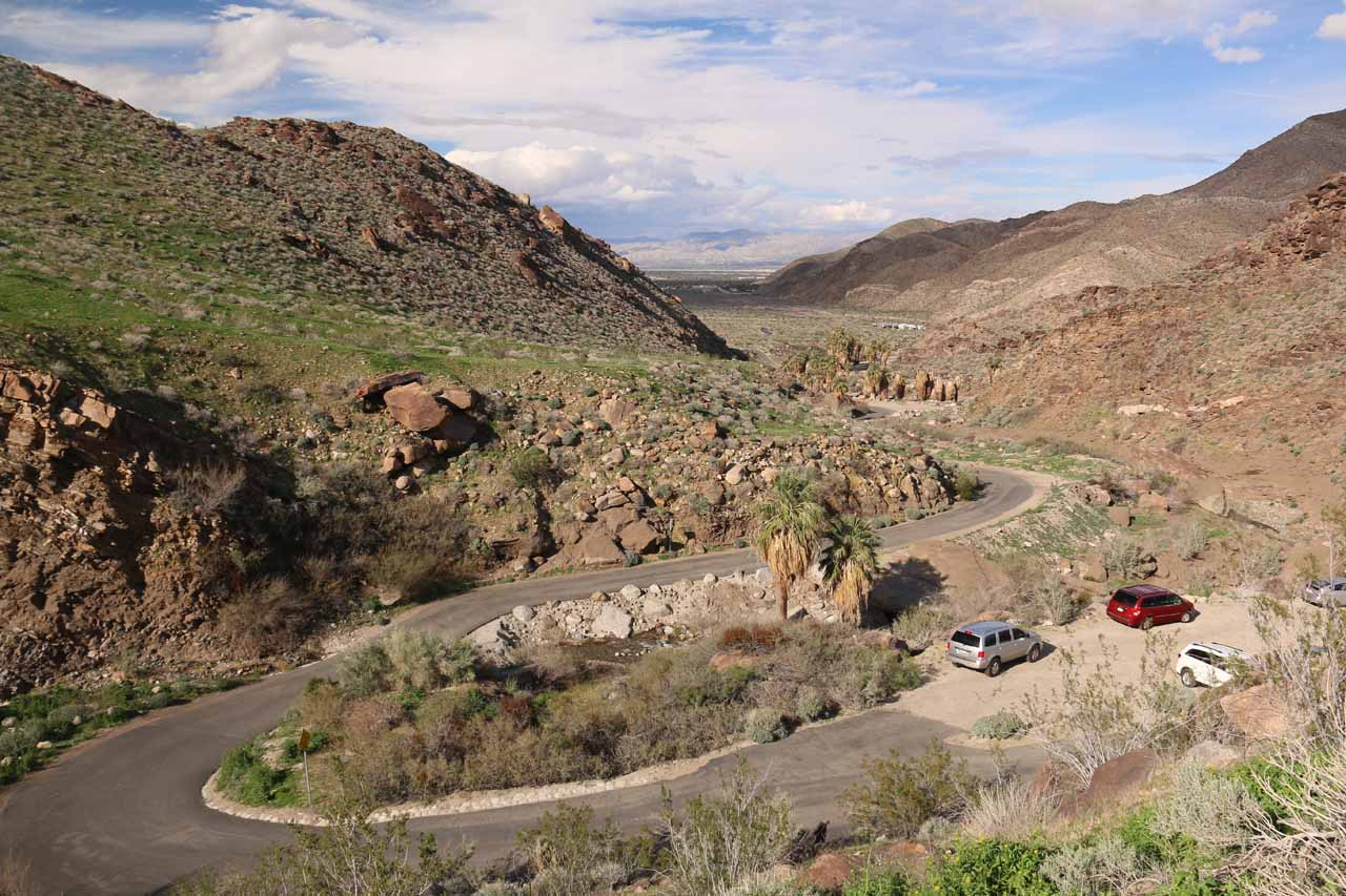 Looking downhill at the road and canyon mouth leading to the Trading Post