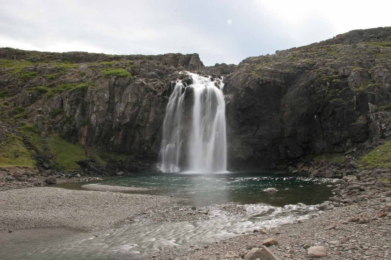 The attractive waterfall at Foss farm at one end of Fossdalur