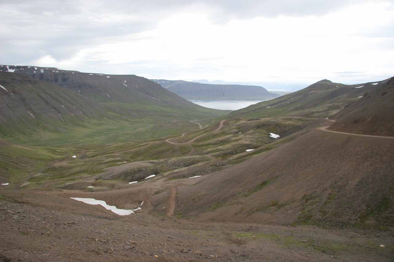 Just to mix things up a bit, here's a photo of another valley leading to a fjord somewhere near the tunnel leading to Ísafjörður
