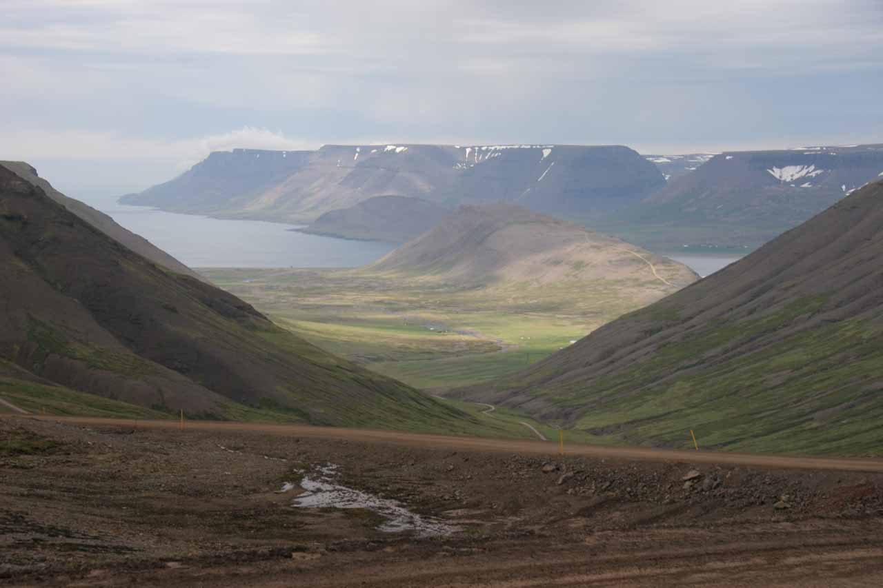 When we were about to enter the tunnel leading to Ísafjörður, we got this nice view towards some fjords in the distance